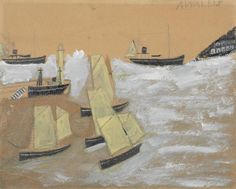 Alfred Wallis (British, 1855-1942) Boats in a harbour 26.7 x 33 cm. (10 1/2 x 13 in.)