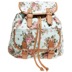 Dusty Rose Print Backpack ($20) ❤ liked on Polyvore featuring bags, backpacks, backpack, mint, floral print backpack, strap backpack, mint green backpack, vintage style backpacks and mint backpack