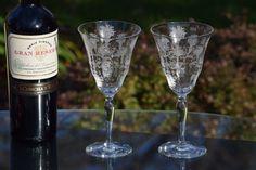Vintage Etched Optic Crystal Champagne Wine Glasses, Set of 2, Wedding Toasting Champagne Glasses, Elegant Vintage Wine Glasses by Antiquevintagefind on Etsy