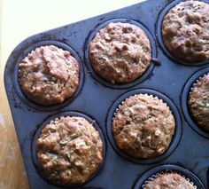 zucchini muffins. I used whole spelt flour and chocolate chips instead of walnuts. Very good hot out of the oven!