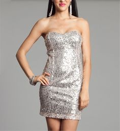 Silver Sequin Strapless Dresses