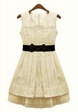 Ivory Sleeveless Pleated Bandeau Chiffon Dress $33.55 #SheInside @SheInside