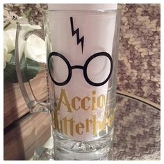 """Accio Butterbeer"" 25 oz glass mug"