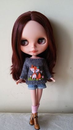 Fox Sweater for Blythe, Middie Blythe, Licca, Pure Neemo Outfit for doll