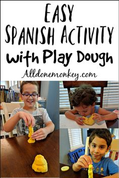 Have them pick a vocab word, draw or sculpt it. Then the other person has to guess what it is. Build your child's vocabulary with this fun, easy Spanish activity with play dough! Great no-prep, language learning activity. Spanish Activities, Vocabulary Activities, Kids Learning Activities, Language Activities, Educational Activities, Fun Learning, Teaching Kids, Sensory Activities, Spanish Vocabulary