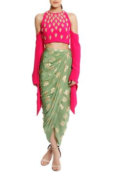 Masaba Shirts Tops and Crop Tops : Buy Masaba Pink Kalash Embellished Cold-Shoulder Blouse With Mint Heritage Fish Draped Skirt Online Indian Gowns, Indian Attire, Indian Wear, Indian Wedding Outfits, Indian Outfits, Look Fashion, Indian Fashion, Luxury Fashion, Diy Fashion