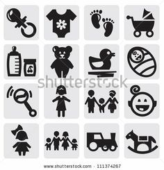 vector black baby icons set on gray by bioraven, via Shutterstock