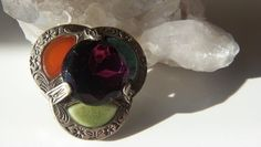 Signed MIRACLE Amethyst Glass Celtic Brooch #Miracle