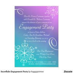 Snowflake Engagement Party Card