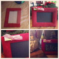 Need a last minute Christmas gift:   I'm making most of all of my Christmas gifts this year. I bought the velvet pic frame at a garage sale this fall for 50 cents, cleaned it up, painted the glass plate with black chalkboard paint, hot glued the ribbon on the coroner then tied 2 pc of chalk together. (So the chalk will always be there to use on the board.) I had the ribbon and chalk and paint already so the total cost was 50 cents!