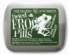 Dried Frog Pills... Originally concocted by the Wizards of Unseen University from extremely poisonous frogs to help the Bursar attain a modicum of sanity, our frog pills are not at all poisonous and instead have a fresh, minty taste. Produced for the Terry Pratchett Memorial, we are making these available to the public due to popular demand.