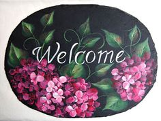 This 8 x 11 black hand painted slate with pink hydrangeas on it is a great hom decoration. It can be inside or out because of its final varnish coat. It