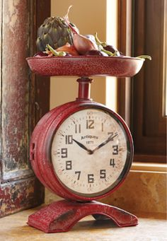 Vintage Country Chic Red Scale Clock French Distressed Kitchen Counter New