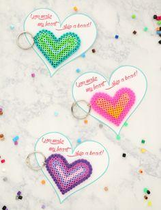 """""""You make my heart skip a bead"""" Key Chain Heart Valentines"""