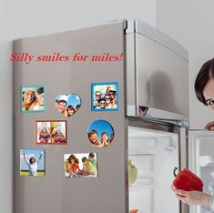 Save Off on custom photo magnets. Photo magnets are perfect as an photo gifts. Select any sizes, shapes and material to create personalized photo magnets online from CanvasChamp. Picture Magnets, Glass Fridge, Quality Photo Prints, Best Savings, Square Photos, Custom Photo, Tool Design, Clear Acrylic, Toy Chest