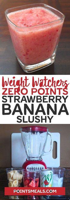 Zero Points Strawberry Banana Slushy #weight_watchers #drink #dessert
