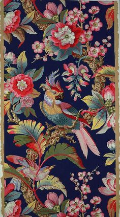 Art Nouveau Parrot and Tropical Foliage. A reaction to academic art of the century, it is characterized by organic, especially floral and other plant-inspired motifs, as well as highly-stylized, flowing curvilinear forms. Motifs Textiles, Textile Patterns, Print Patterns, Fabric Wallpaper, Pattern Wallpaper, Bird Wallpaper, Zuber Wallpaper, France Wallpaper, Chinoiserie