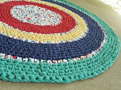"crochet rag rug | Crochet rag rug - primary colors. Recycled, eco, repurposed, 31"" round ..."