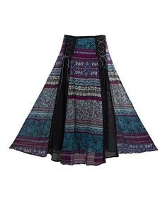 Loving this Turquoise & Purple Floral Lace-Up Maxi Skirt on #zulily! #zulilyfinds