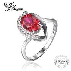 JewelryPalace Eye 1.4ct Red Created Rubies Solitaire Ring 925 Sterling Silver Fine Jewelry For Women Newest Design Party Gift #Affiliate