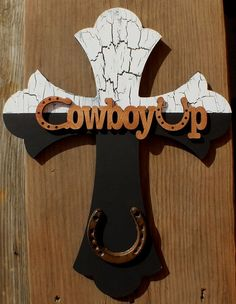 Cowboy Wooden Decorative Cross. $25.00, via Etsy. My favorite so far :)