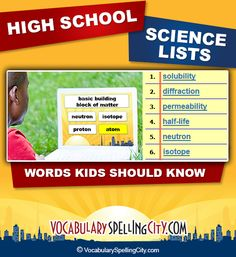 Use this science word list with our interactive vocabulary games to supplement high school science curriculum.