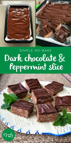 This delicious no-bake dark chocolate peppermint slice is made with crushed biscuits, rice bubbles, condensed milk. It's a very quick, simple & easy recipe. Chocolate Slice, Best Chocolate, Homemade Chocolate, Dark Chocolate Recipes, Baking Recipes, Cake Recipes, Dessert Recipes, Pork Recipes, Easy Recipes For Desserts