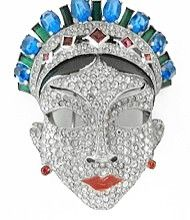 Vintage Book Piece Signed Mazer Rhinestone Face Fur Clip Pin