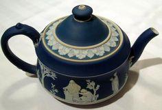 portland blue Wedgwood Jasperware tea pot