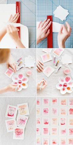 DIY watercolor wedding escort cards would be cute for invites! Diy Watercolor, Watercolor Wedding, Watercolor Lettering, Watercolor Invitations, Watercolor Projects, Watercolor Background, Wedding Cards, Diy Wedding, Wedding Invitations
