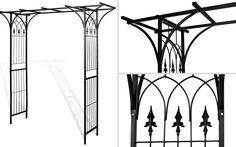 Black Iron Garden Arch Outdoor Climbing Plants Rose Arbour Archway Gate Support