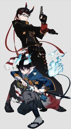 Ao no Exorcist / Rin Okumura / Yukio Okumura / Blue Exorcist / Okumura Twins Ao No Exorcist, Blue Exorcist Anime, Cute Anime Boy, Anime Guys, Manga Anime, Anime Art, Blue Exorcist Cosplay, Rin Okumura, Super Manga