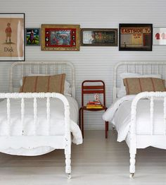 Framed antique wall art adds vintage charm to this bedroom. More ways to decorate with vintage finds: home design designs design design decorating Home Design, Interior Design, Interior Decorating, Kids Bedroom, Bedroom Decor, Kids Rooms, Design Bedroom, Bedroom Bed, White Bedroom