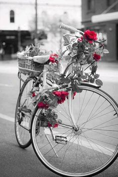 love the black and white with red roses