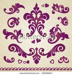 Vector set of scrolls and vignettes in Victorian style. Element for design. It can be used for decorating of invitations, greeting cards, decoration for bags and at tattoo creation.