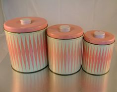 Pretty in Pink Set of Vintage Kitchen Cannisters by noobootoo, $14.99 (Nicole-these are adorbs!)