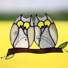 Stained glass owl suncatcher stain glass love bird owls owls