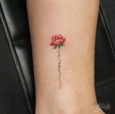 Tiny Floral Ankle Tattoo by Graffittoo