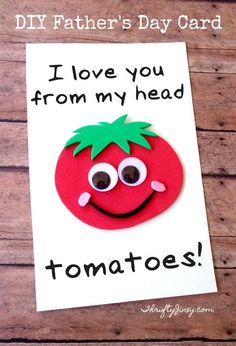 This DIY Father's Day Tomato Card is fun and easy to make with our free printable template to to let Dad know how much he is loved! perfect fathers day gift, first fathers day gifts from kids, fathers day surprise Kids Fathers Day Crafts, Fathers Day Art, Fathers Day Presents, Gifts For Kids, Fathers Day Ideas, First Fathers Day, Stepdad Fathers Day Gifts, Grandparents Day Crafts, Funny Fathers Day Gifts