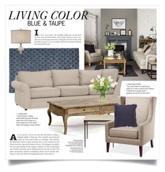 """""""Blue and Taupe 2204"""" by boxthoughts ❤ liked on Polyvore featuring interior, interiors, interior design, home, home decor, interior decorating, Pottery Barn, NDI and Jaipur"""