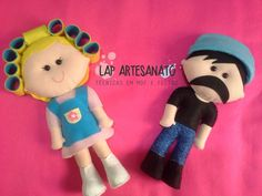 Doll with curlers and big mustache guy