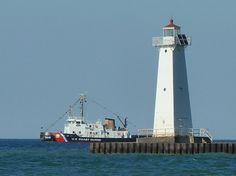 USCGC Neah Bay passing Sodus Outer Light, Upstate New York (Lake Ontario)