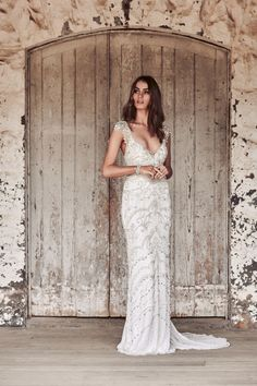 V-neck Raine dress with intricate hand-beading from the Anna Campbell Eternal Heart Collection
