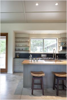 Barstools/island/recessed lighting/cabinet color/open shelving under soffit/ oh, everything:-)