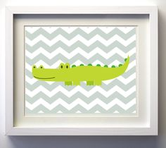 Nursery Art Alligator Chevron Zoo Jungle Safari Boy by ZeppiPrints