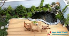 thiet ke ho ca koi ngoai troi Indoor Water Features, Pond Water Features, Fish Pond Gardens, Small Gardens, Patio Design, Garden Design, House Design, Terrace Garden, Indoor Garden