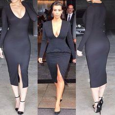 Cheap Sexy V Neck Long Sleeves Front Split Black Sheath Knee Length Dress on Luulla