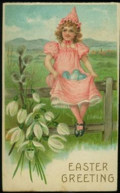 LOVELY ANTIQUE EASTER POSTCARD GIRL IN PINK WITH BLUE EGGS
