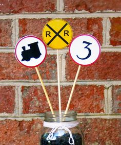 Train Theme Birthday Party Accent Signs Set of by SittinonaCloud, $9.99