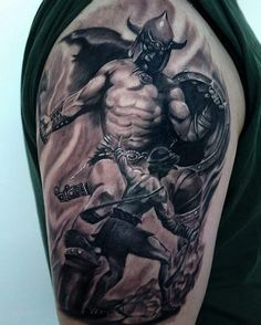 David and Goliath done by resident artist @kaniatattoo. Done in…